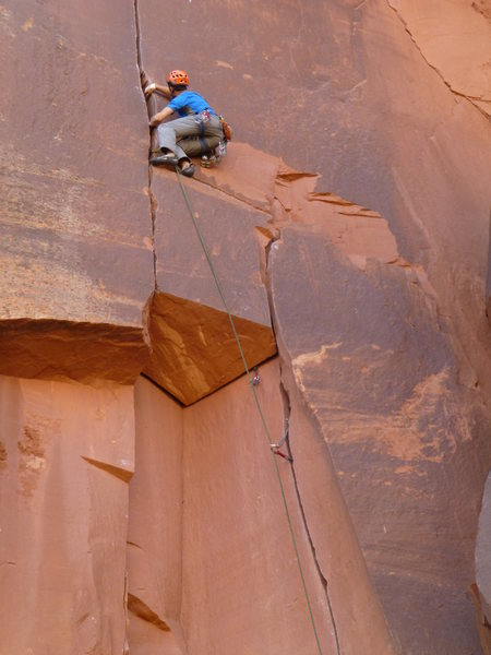 Pete about to re-enter red Camalot country. <br> <br> Interesting &quot;block&quot; physics on this one...<br> <br> March 2013