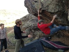 Rock Climbing Photo: Working the crux.