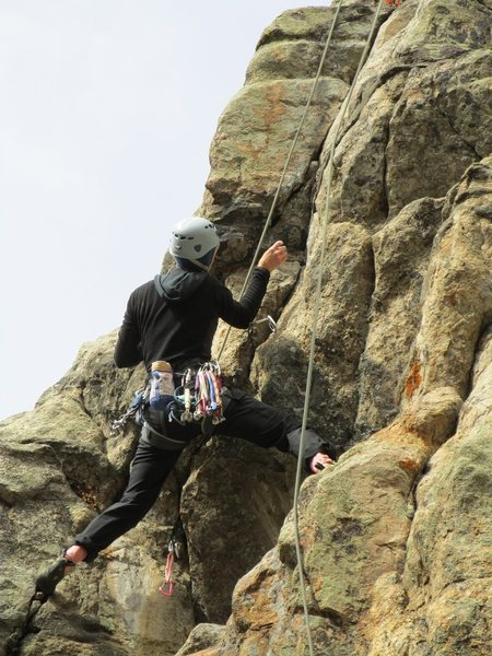 Rock Climbing Photo: Diana cleaning up DM prior to RP burn.