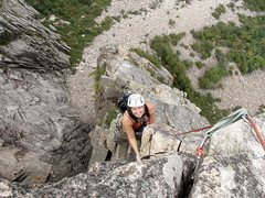 Rock Climbing Photo: My Wife having fun on the direct finish of the Whi...