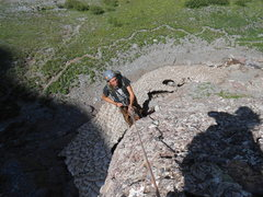 Rock Climbing Photo: Patrick belaying from the top of the first-ish pit...