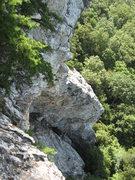 Rock Climbing Photo: Deceivious climbs the arete siloette against the w...
