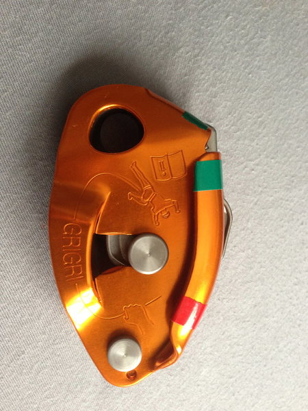New GriGri with ultimate idiot tape scheme. GREEN for GOing side, RED for STOPing side.