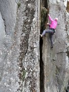 """Rock Climbing Photo: Leslie Smith on """"Like Old Times,"""" 5.8"""