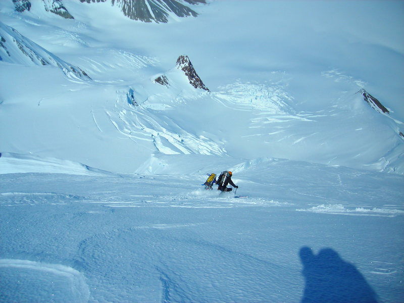Rock Climbing Photo: Skiing the North Ridge before it rolls over. You c...
