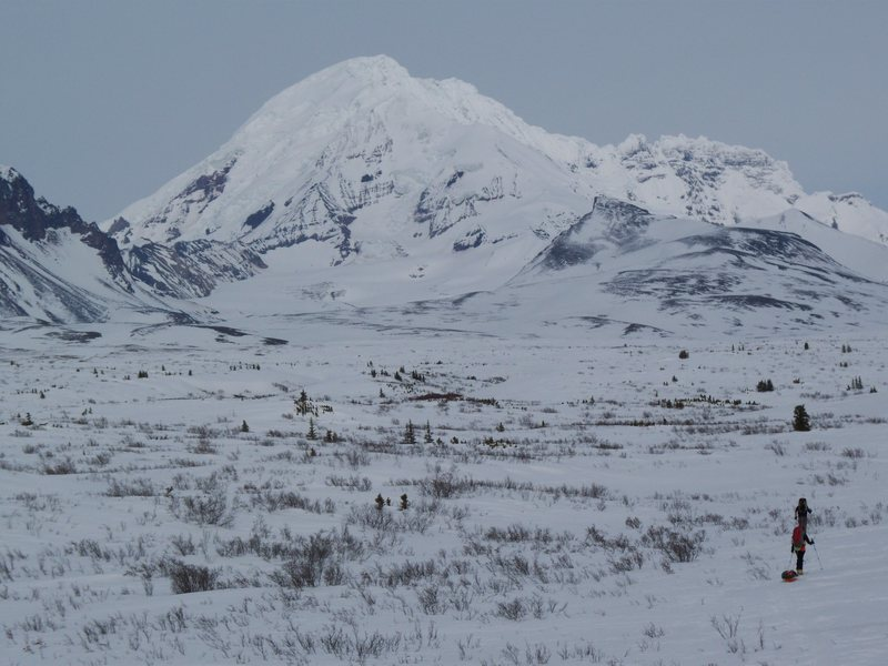 The approach through the tundra and grizz country. They like to hunker down under cornices.