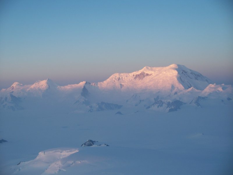 The king ski line of the Wrangell Mountains. The North Ridge of Mt. Blackburn follows the sun-shade line.