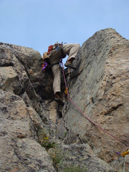 Rock Climbing Photo: Final move out of the chimney.
