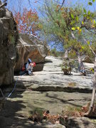 Rock Climbing Photo: Mark gets ready to traverse right on P1.  Notice m...