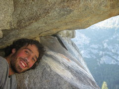 Rock Climbing Photo: In a little cave, before the last pitch on the Ros...