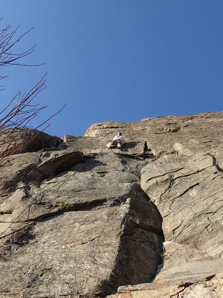 "Mark on first ascent of ""Venus of Okanogan"" (5.7 ****) on Big Butte."