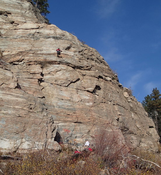 "Climber on ""SE Buttress Left Side"" (5.5 **) on Big Butte"
