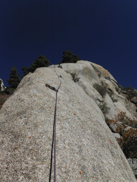 TP at the belay on top of pitch one