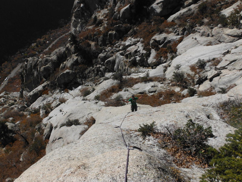 getting a strong belay while climbing the second pitch