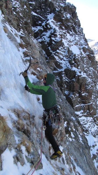 The thin smear on the traverse ledge of pitch 3.