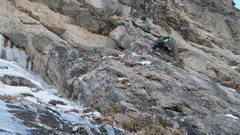 Rock Climbing Photo: Pitch 3. Teague Holmes punching it up new terrain ...
