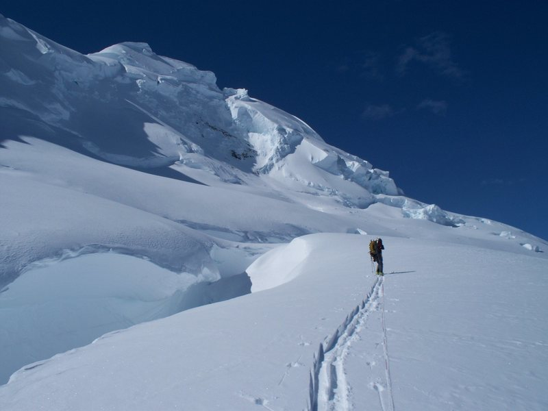 Rock Climbing Photo: Traversing under the North Face of Rime Peak.