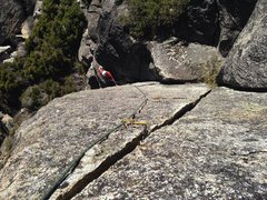 Rock Climbing Photo: Looking down a corner to splitter route.