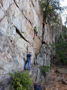 Rock Climbing Photo: Practice Wall  Brick In The Wall(5.10d X) Trad  Cr...