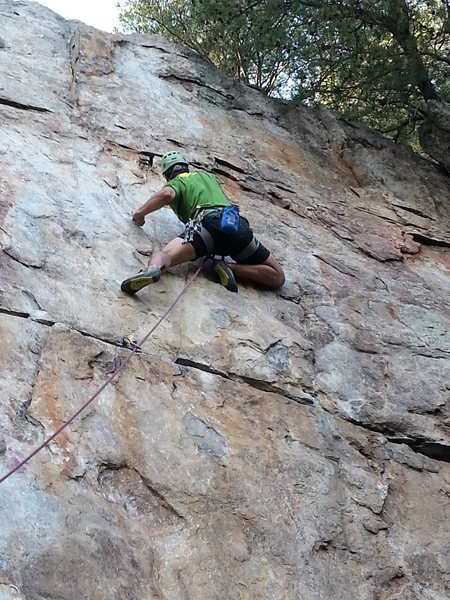 Practice Wall<br> <br> Brick In The Wall (5.10d X) trad<br> <br> Crowders Mountain State Park, North Carolina