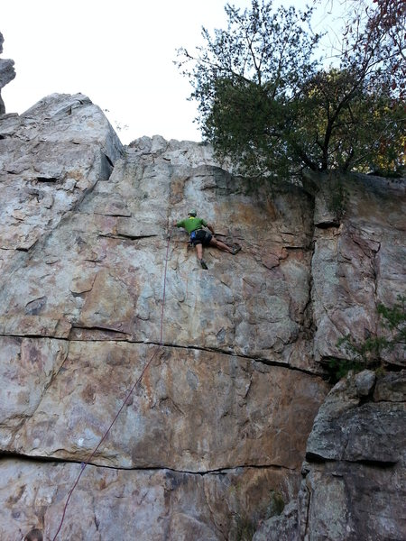 Practice Wall <br> <br> Brick In The Wall (5.10d X) trad <br> <br> Crowders Mountain State Park, North Carolina