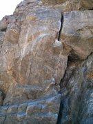 Rock Climbing Photo: The crux, good jugs and decent feet, but super ove...