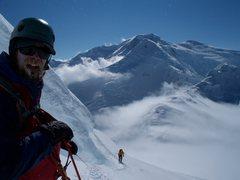 Rock Climbing Photo: Traversing below the big bergshrund, trying to fin...