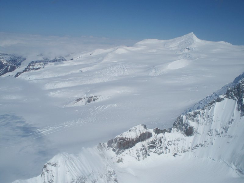 Mt. Regal from the air. Welcome to the Wrangells, lots of crevasses!