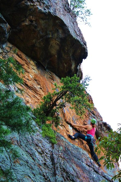 Following and cleaning Rediscovery (5.8) trad at Crowders Mountain State Park, North Carolina