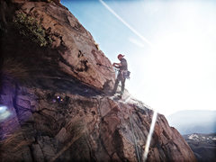 Rock Climbing Photo: At the belay station atop the Meteor traverse. Set...