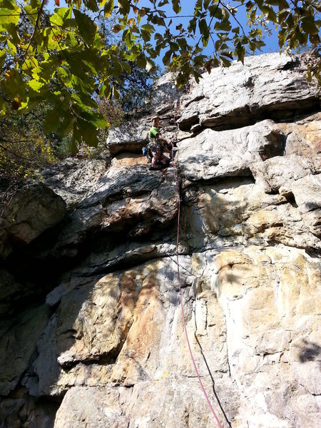 Wrestling Wall<br> <br> Ringside Entertainment(5.8+) trad<br> <br> Crowders Mountain State Park, North Carolina