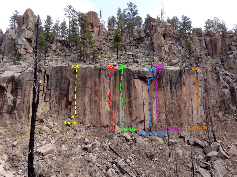 "Side Canyon action. Climber in yellow is on ""Romeo"" and the climber in red is on ""Juliet""."
