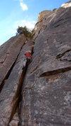 Rock Climbing Photo: Enjoying the wide crack.