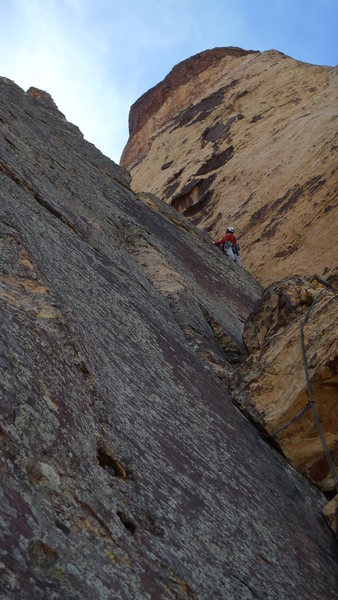 Rock Climbing Photo: Onwards and Upwards towards the notch on Final pit...