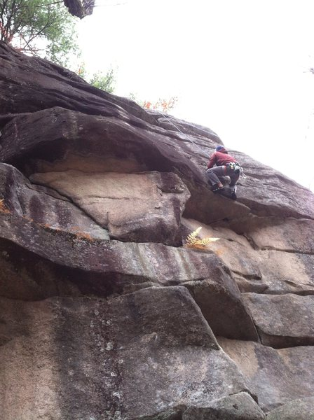 Rock Climbing Photo: Nipo using the big holds to pull the roof.  Shot t...