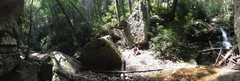 Rock Climbing Photo: Panoramic of the Levitation boulder
