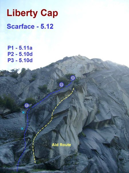 Rock Climbing Photo: First three pitches of the Scarface on Liberty Cap...
