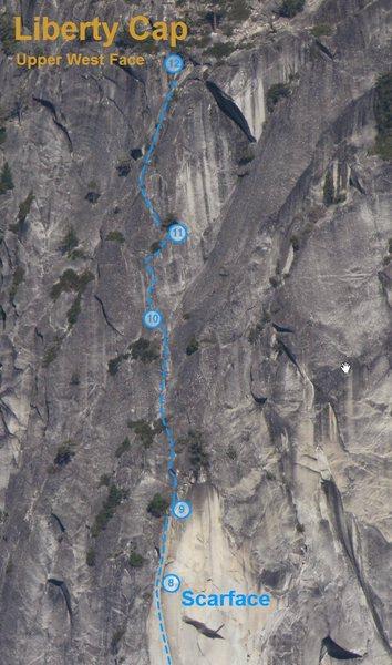 Rock Climbing Photo: Scarface Final Pitches Photo Topo
