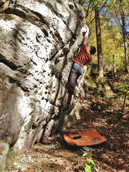Rock Climbing Photo: After dynamic move to the top