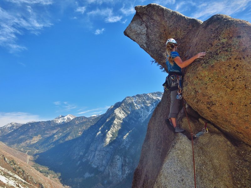 Summiting the Thumb. Scariest 5.5 out there.