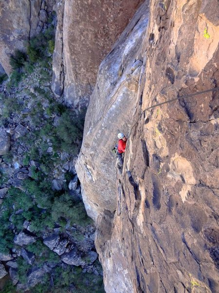 Rock Climbing Photo: Moments after the airy traverse on the second pitc...