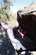 Rock Climbing Photo: Jared entering the crux of Goodbye Blue Monday, V7...