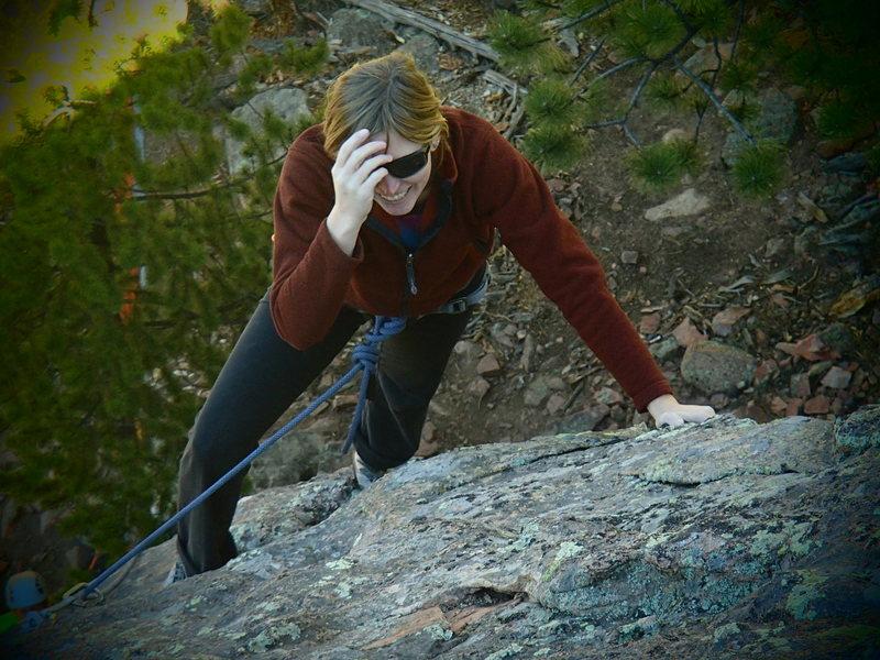 Rock Climbing Photo: Aryn leading Gus.