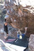 Rock Climbing Photo: Bradley Edwards working the moves on Goodbye Blue ...