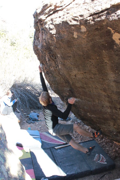 Rock Climbing Photo: Bag, working the moves on Goodbye Blue Monday.