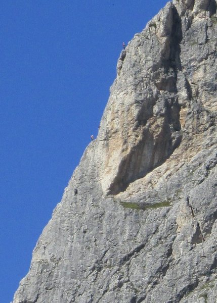 Climbers on Kleiner Falzaregoturm; either Via della Guida or Comici Route, since the routes share some leads at this point.