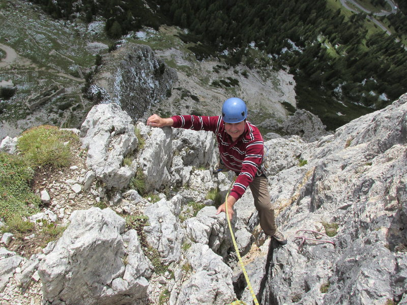 Stemming the chimney/gully on lead four.