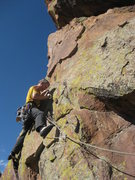 Rock Climbing Photo: Placing gear to protect the traverse up and left t...