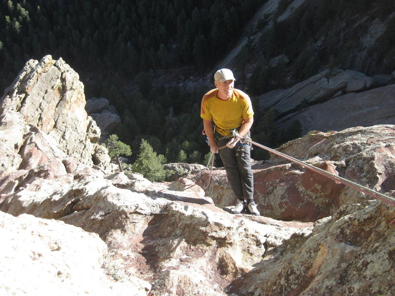 Rock Climbing Photo: Starting the 60 meter rappel back down Waiting for...