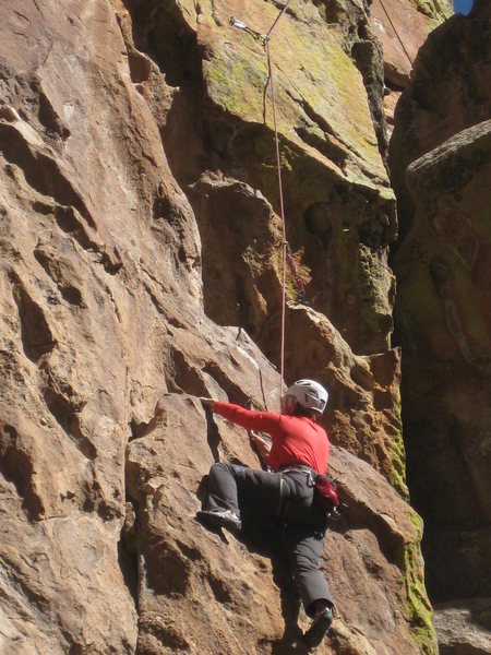 Marsha below third bolt, 2013-10-27.<br> <br> Photo by Mike Walley.